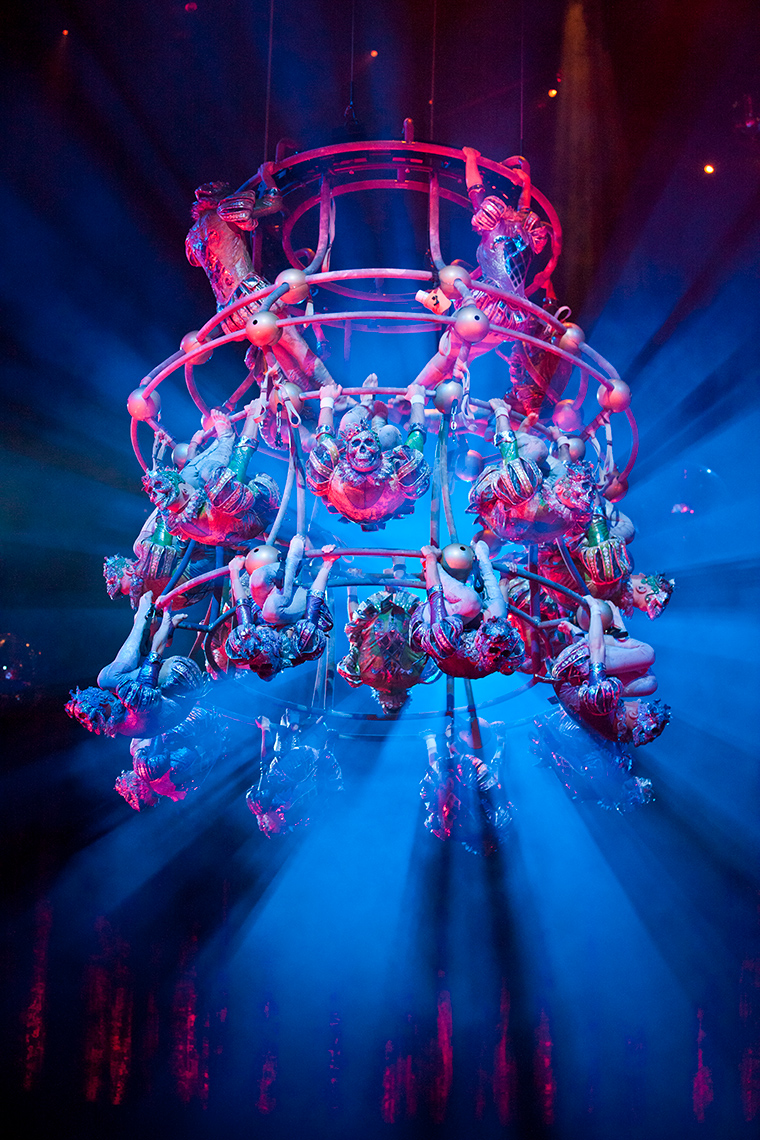Chandelier The House of Dancing Water show at the City of Dreams Macau marketing and promotional shots