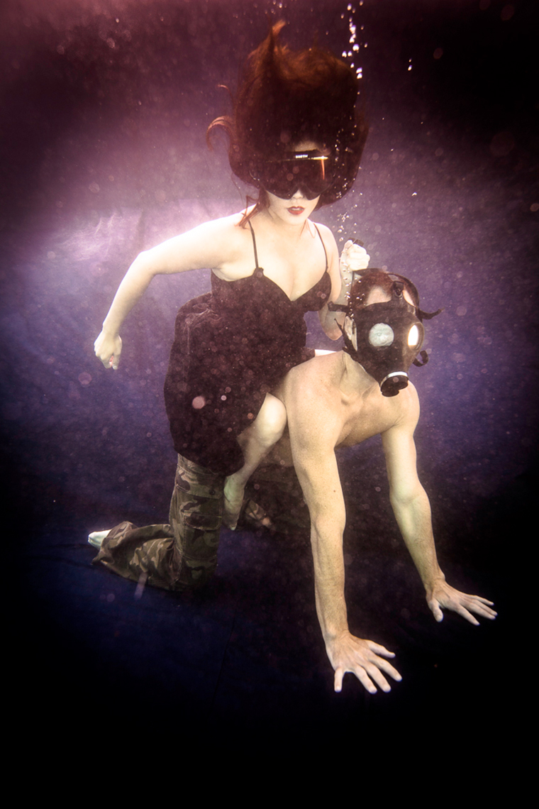 surreal underwater couple
