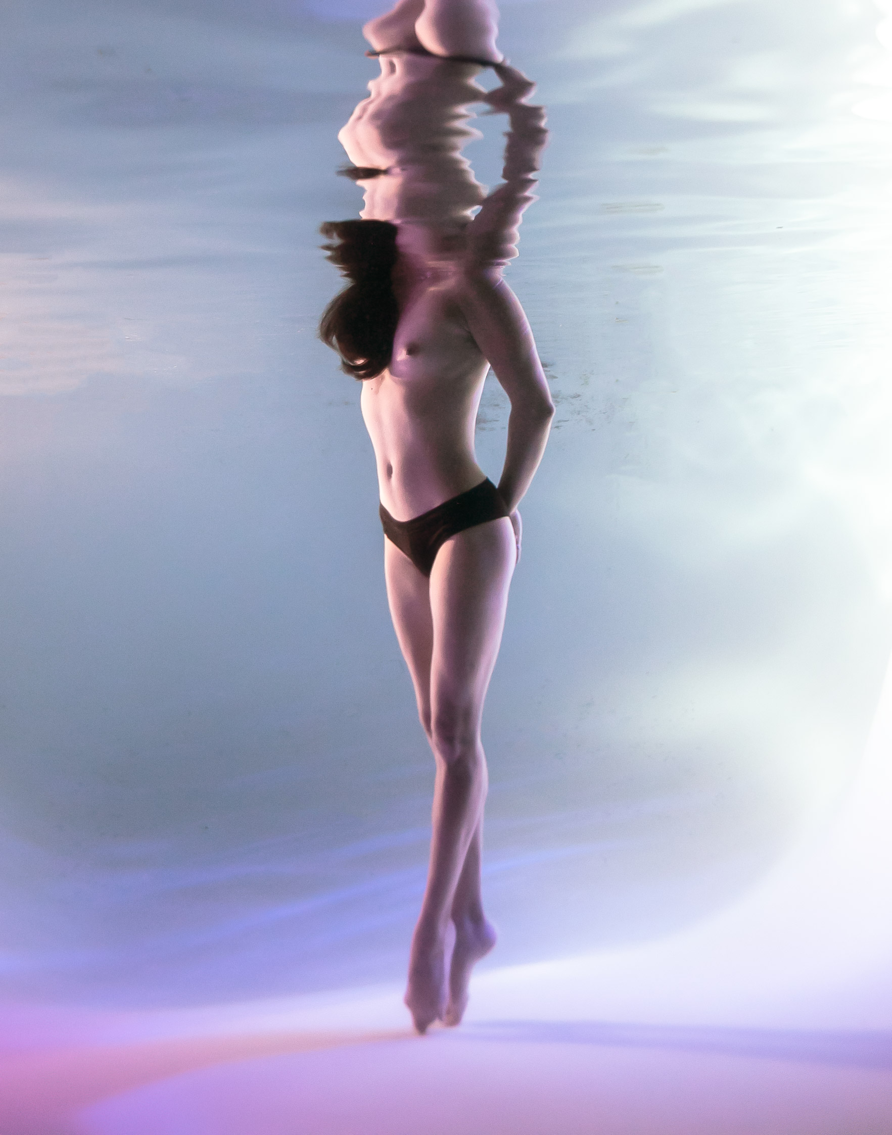 Topless beauty underwater fine art