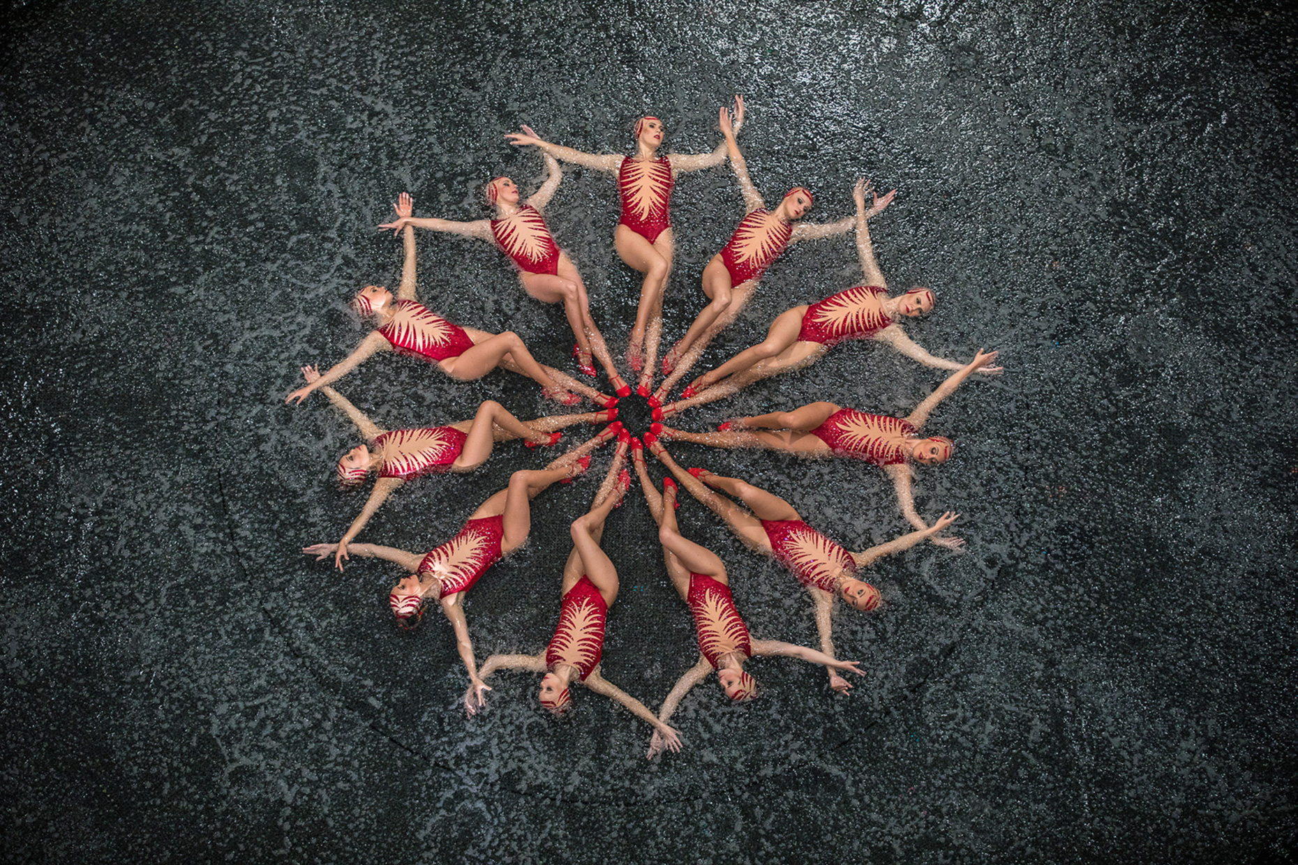 Synchronized swimmers on the stage forming a star. Le RÊVE the Dream Show at the Wynn Las Vegas. Advertising