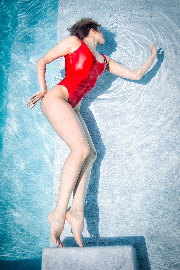 Red swimsuit diva